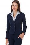 Фото Жакет синий классический теплый Деловая женская одежда