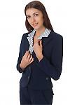 Фото Жакет синий классический теплый вид спереди Деловая женская одежда