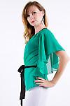 Фото Блузка из шифона зеленая Деловая женская одежда