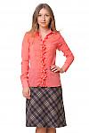 Блузка коралловая со сборкой и рюшем Деловая женская одежда