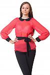 Блузка коралловая в черный горошек Деловая женская одежда