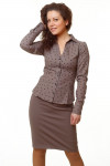 Фото Блузка коричневая в бабочки Деловая женская одежда