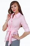 Купить розовую блузку с поясом Деловая женская одежда