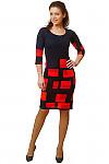 Купить платье синее в красные квадраты Деловая женская одежда