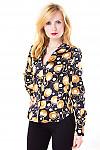 Фото Блузка черная с золотистыми кружочками Деловая женская одежда
