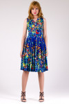 Фото Платье летнее синее в бабочки Деловая женская одежда