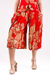 Фото Юбка-шорты красная в цветы Деловая женская одежда