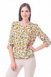 Блуза белая в красно-желтые цветы Деловая женская одежда