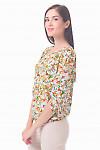 Купить блузу белую в красно-желтые цветы Деловая женская одежда