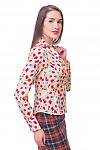 Купить блузку бежевую в сиреневый горох Деловая женская одежда