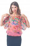 Блузка розовая в бабочки Деловая женская одежда