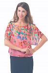 Купить шифоновую блузку розовую в бабочки Деловая женская одежда