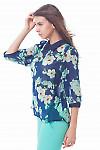 Купить блузку синяя с крупными цветами Деловая женская одежда