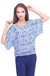 Блузка в синий орнамент на резинке Деловая женская одежда