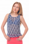 Топ синий в белый орнамент Деловая женская одежда