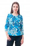 Фото Блузка на резинке бирюзовая Деловая женская одежда