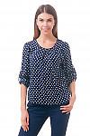 Фото Блузка на резинке синяя в горох Деловая женская одежда