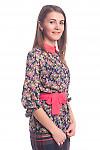 Купить синюю блузку в цветы с красним воротником Деловая женская одежда
