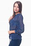Купить блузку синюю в горох с накладными карманами Деловая женская одежда
