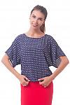 Блузка темно-синяя в красный ромбик Деловая женская одежда