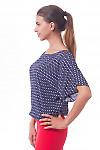 Купить блузку темно-синюю в красный ромбик Деловая женская одежда