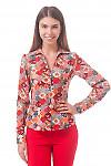 Фото  Блузка в красные платочки Деловая женская одежда
