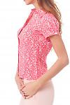 Купить коралловую блузку в белый узор Деловая женская одежда