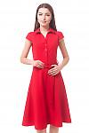 Платье красное с пуговицами впереди Деловая женская одежда
