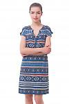Платье синее в орнамент с планкой Деловая женская одежда