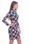 Купить платье синее в полосатые ромбы. Деловая женская одежда