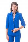 Фото Жакет удлиненный с коротким рукавом ярко-синий Деловая женская одежда