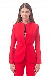 Фото Жакет удлиненный с манжетами красный Деловая женская одежда