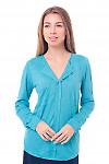 Блузка бирюзовая с накладными карманами Деловая женская одежда фото