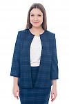 Кардиган теплый синий в клетку Деловая женская одежда фото