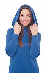 Купить платье в пол синее с капюшоном Деловая женская одежда фото