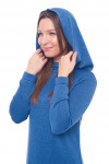 Купить трикотажное платье в пол синее с капюшоном Деловая женская одежда фото