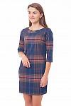 Платье в синюю клетку Деловая женская одежда фото