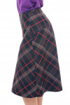 Купить юбку-трапецию коричневую с красной полосой Деловая женская одежда фото