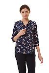 Блузка синяя в гламурный узор Деловая женская одежда фото