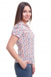 Купить блузку в красно-голубой цветочек Деловая женская одежда фото