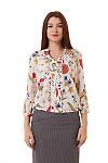 Блузка в крупные маки с резинкой сбоку Деловая женская одежда фото