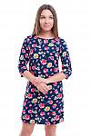 Льняное синее платье в розы Деловая женская одежда фото