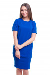 Платье-футляр синее с защипами на юбке Деловая женская одежда фото