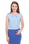 Топ с коротким рукавом голубой Деловая женская одежда фото