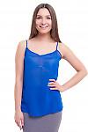 Топ синий на тонких бретелях Деловая женская одежда фото