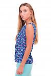 Купить топ синий в розовые буквы Деловая женская одежда фото