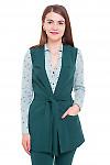 Жилетка длинная с поясом зеленая Деловая женская одежда фото