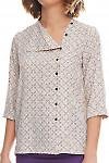 Фрагмент блузки в серо-бежевый узор Деловая женская одежда фото